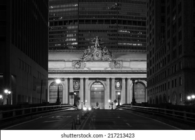 Facade of Grand Central Terminal at twilight in New York, USA in black and white