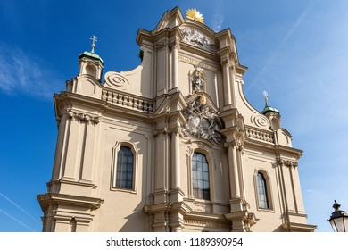 Facade of the Heiliggeistkirche, Heilig Geist Kirche (Church of the Holy Spirit) in downtown of Munich, between Marienplatz and the Viktualienmarkt, in rococo and gothic style