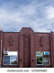 Facade of a heritage building with Art Deco architectural elements built in the country town of Grafton, New South Wales, Australia