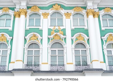 Facade of Hermitage museum on Palace Square in Saint Petersburg.