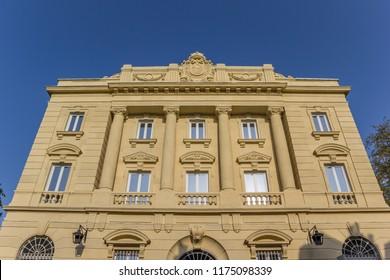 Facade of the historic bank building in Vitoria-Gasteiz, Spain