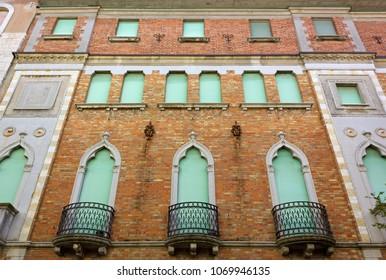 Facade of an historic building in Grado, Italy