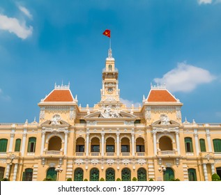 The facade of the Ho Chi Minh City Hall, also known as the People's Committee Building, Ho Chi Minh City, Vietnam.  - Shutterstock ID 1857770995
