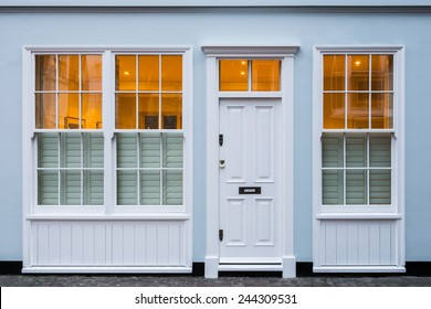 Facade of a house at dusk in London, UK