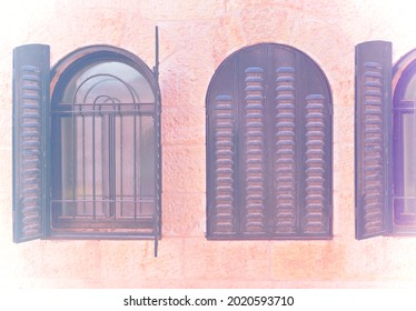 The facade of the house is faced with Jerusalem stone. Windows with metal shutters  in faded color effect.