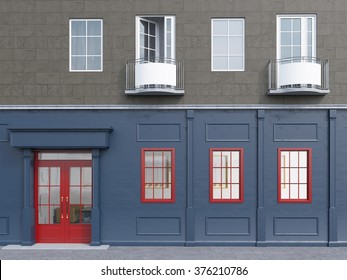 A facade of a house with a small cafe on the ground floor. Three windows to the right of a red door. Front view. Concept of a city cafe. 3D rendering.