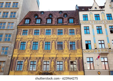 facade of houses on the medieval Market square in Wroclaw (capital of Silesia), Poland, Europe