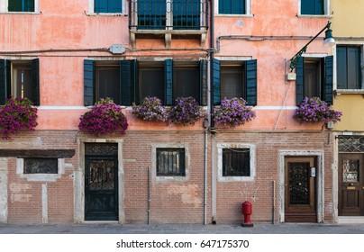 Facade of the Italian house in Venice
