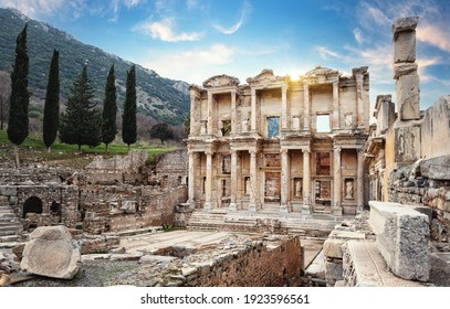Facade of the Library of Celsus in Ephesus in the afternoon. Turkey