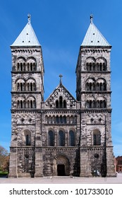Facade of the Lund Cathedral in sunny day, Sweden