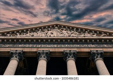 Facade of the Madeleine church in Paris