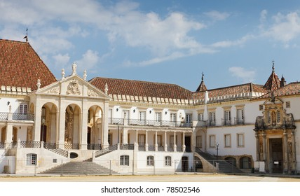 facade of main square of university of Coimbra, Portugal