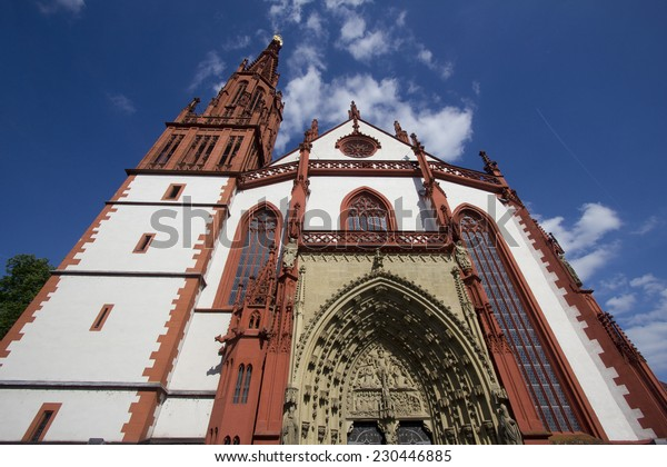 The facade of the Marienkapelle Church in Wurzburg, Germany