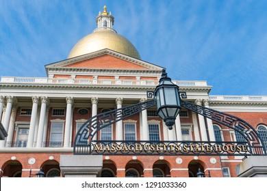 Facade of the Massachusetts State Capital building in Boston Massachusetts