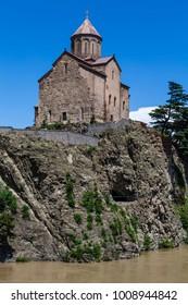 Facade of the Metekhi St. Virgin church in Tbilisi, Georgia
