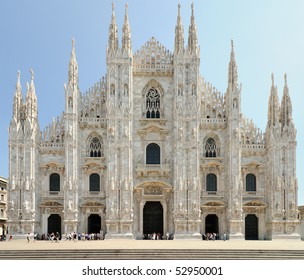 Facade of Milan Cathedral (Duomo), Lombardy, Italy