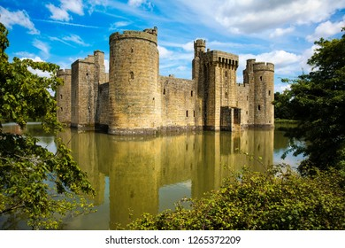 Facade and Moat of the Medieval Bodiam Castle in East Sussex, England