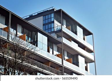 Facade of a modern apartment building