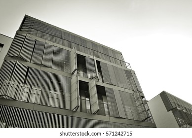 Facade of a modern apartment building. Black and white.