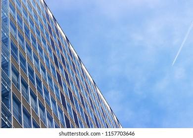 Facade of a modern apartment building. Blue Sky.
