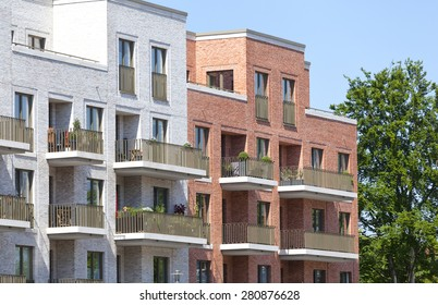 Facade of a modern apartment building in Hamburg, Germany