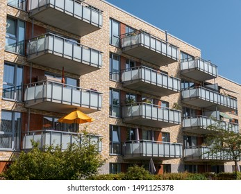 Facade of a modern apartment building in Kiel, Germany