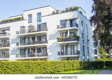 Facade of modern apartment buildings
