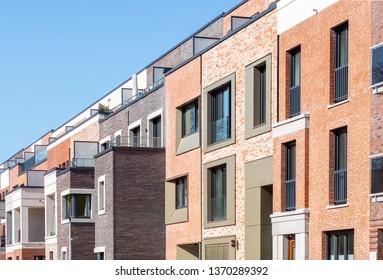 Facade of modern apartment buildings in Hamburg, Germany