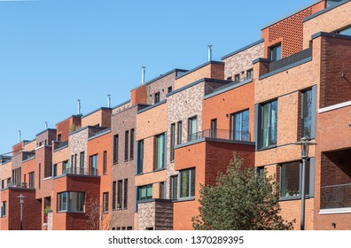 Facade of modern apartment buildings in Hamburg, Germany