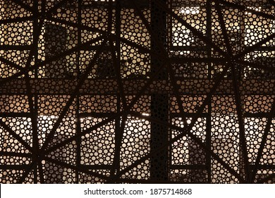 Facade of a modern building. Round geometric patterns. Night shooting - Shutterstock ID 1875714868