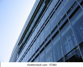 Facade of a modern glass building.