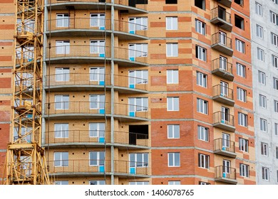 Facade modern house building. Panel house. Multi-storey building. Comfortable apartment house. Affordable housing