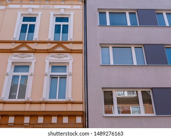 Facade of a modern and a traditional appartment building in Kiel, Germany