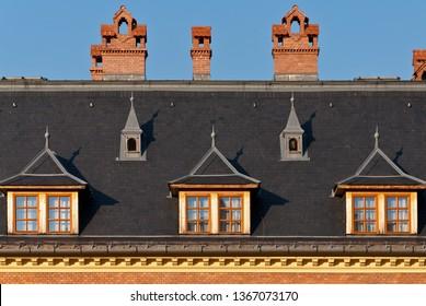 Facade of modern tudor style building