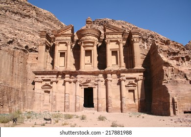 The facade of the monastery (Ad Deir) in Petra, Jordan.