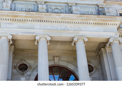Facade of the Montana State Capital Building in Helena, Montana
