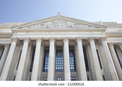 Facade of the National Archives building in Washington DC