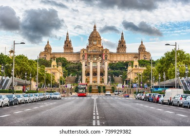 Facade of the National Art Museum of Catalonia, commonly abbreviated as MNAC, scenic landmark in Barcelona, Catalonia, Spain