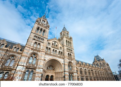 Facade of Natural History Museum, London. UK.