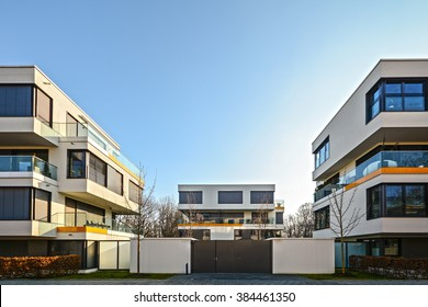 Facade of  new residential building, courtyard with new low-energy-standard