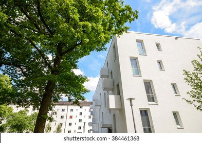 Facade of  a new residential building, new low-energy-standard development
