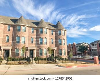Facade of new townhome apartment complex near Dallas, Texas, USA