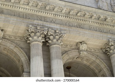 Facade of the New York Public Library, Midtown, Manhattan, New York City, New York State, USA