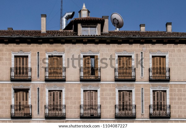Facade with nineteenth-century balconies in a building inIn the centre of  Madrid. Spain