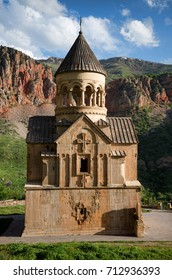Facade of Noravank monastery at mountains of Armenia
