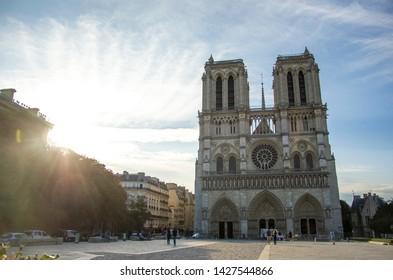 Facade of Notre Dame de Paris sunrise