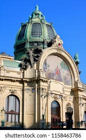 Facade of Obecni Dum or Municipal House in Prague, Czech Republic.