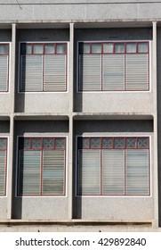 Facade of office concrete building.