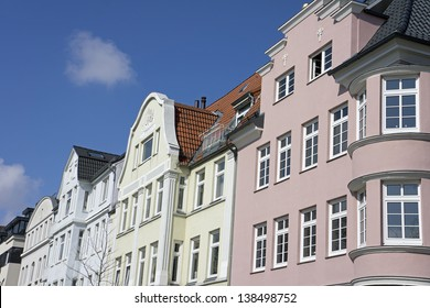 Facade of an old apartment building in Kiel, Germany
