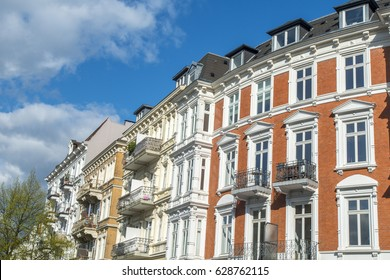 Facade of old apartment buildings in Hamburg, Germany